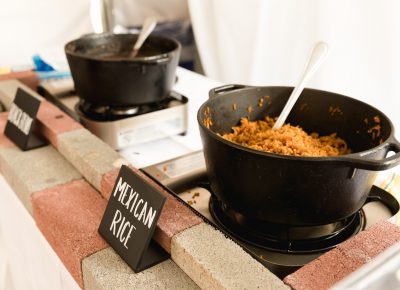 Mexican Rice, Black Beans and other food items are available at the VIP area.