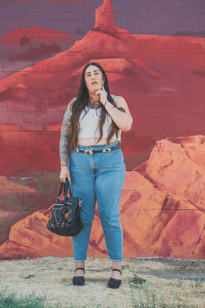 """I've always loved vintage. I've thrifted since high school. Being a plus-size person it's hard to find clothing. Especially 15–20 years ago, it was really hard to find cool pieces in plus size—so I thrifted trying to find alternative ways,"" says Whitmore. ""So I have a really good eye when it comes to finding things."" Photo: @clancycoop"