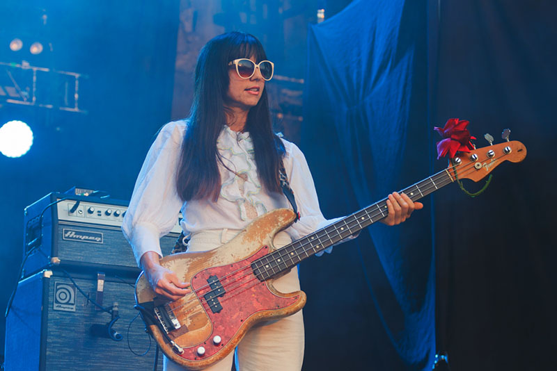 "Paz Lenchantin keeps her cool while performing ""Wave of Mutilation."""