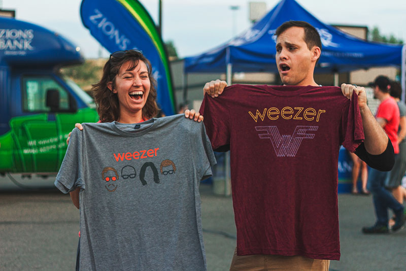 (L–R) Celeste and Daniel Lundell rock the Weezer swag.