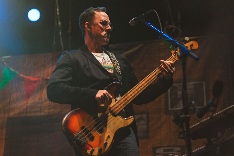 Scott Shriner gives that bass face while performing Buddy Holly.