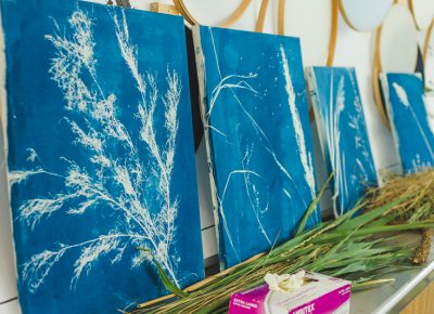 The West Elm cyanotype art workshop made for some great sun-drenched artwork.