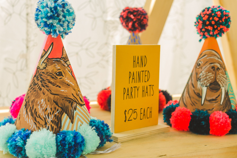 Ain't no party like a hand-painted-party-hat party.
