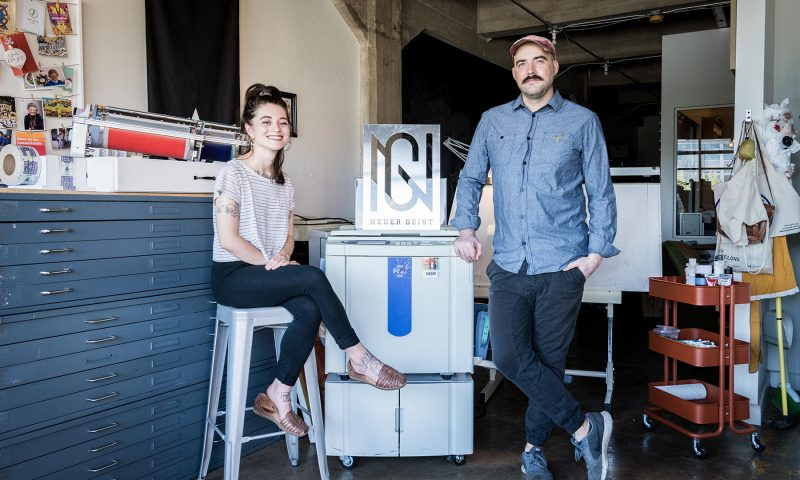 (L–R) Brighton Ballard and Derek Ballard flex their design and branding prowess with their risograph machines. Photo: Colton Marsala
