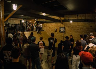 The crowd enjoying their evening at Super Top Secret.