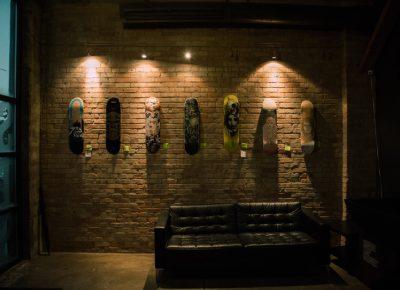 Customized decks line the walls of Super Top Secret.