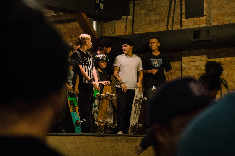 Skaters of all ages on the mini ramp.