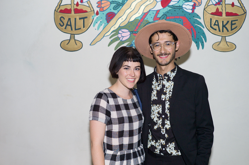 (L-R) McKenzie Foster and Christian Saenz pose in front of the distinctive mural on the south wall. Photo: @clancycoop