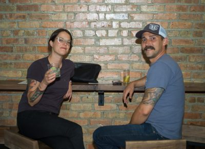(L-R) Kelly Downs and Clint Hollingsworth were among a large turnout eager to try Alibi's drink offerings. Photo: @clancycoop