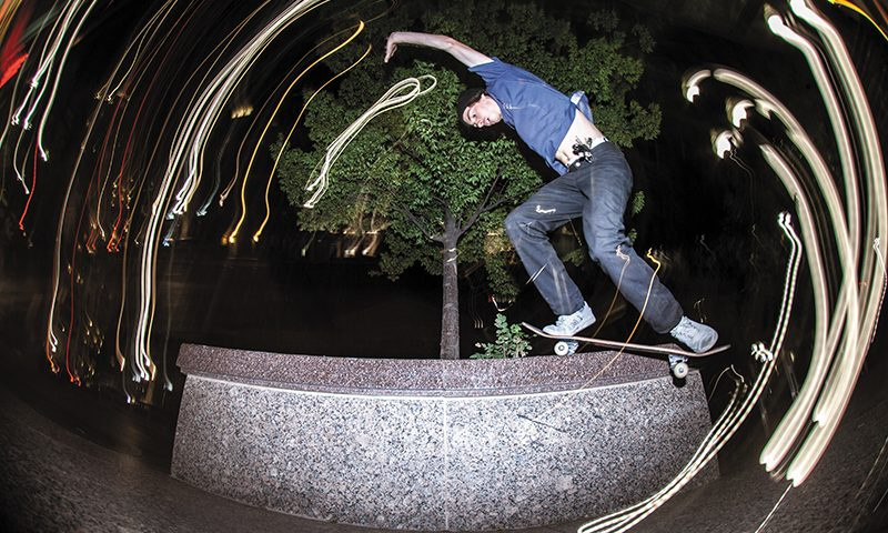 Night-skating Downtown is one of my favorite things to take photos of! There are so many fun ways to create amazing images using flashes and long exposures. Tyson Bowerbank – Bennett Grind – SLC, Utah. Photo: CJ Anderson