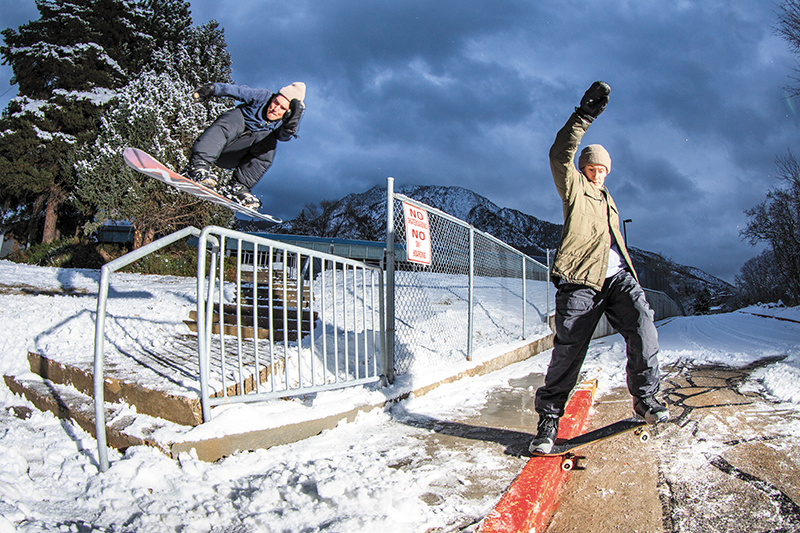 (L–R) Sam Taxwood – Gap 5050 & Spencer Shubert – Nose Slide | SLC, Utah. Photo: Bob Plumb