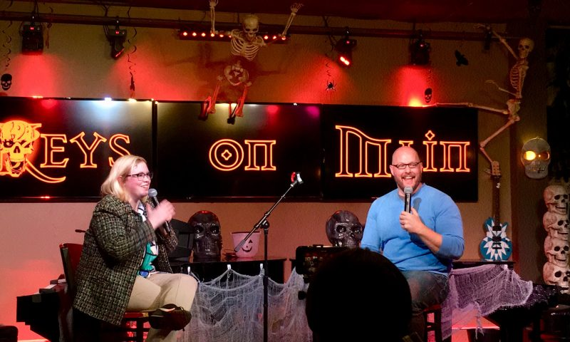 (L–R) Amerah Ames and Greg Kyte during Comedy Church sacrament. Photo courtesy of Greg Kyte.