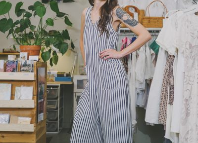 """""""All the vintage clothes in Atelier are Scoutt Shop. So Scoutt Shop started as an online shop and then within the last year has grown a big following just off of being inside that shop,"""" says Hunsaker. """"I want modern and vintage timeless pieces that anybody can wear for day or night."""" Photo: @clancycoop"""