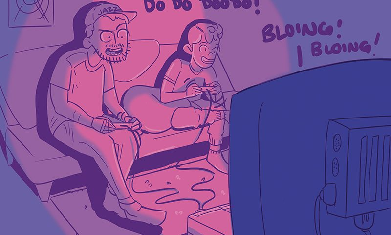 Mike Brown finds the Christmas spirit in the fact that kids still love to get and play video games for Christmas. Illustration: donnellysme.com