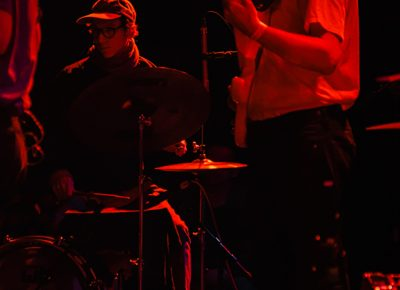 Jessy Caron and Men I Trust touring drummer holding down the rhythm section.