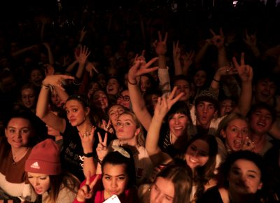 Fans on the right, rocking out with COIN at the Depot. Photo: @Lmsorenson Photography