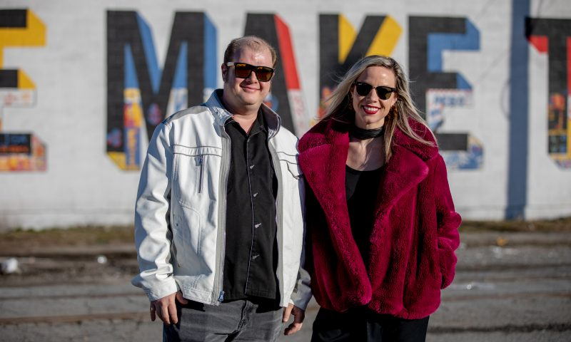 (L–R) Derek Dyer and Renya Nelson have spearheaded efforts to add murals by local and national artists alike to the walls of Salt Lake City— bringing color and community to the forefront of South Salt Lake and the Granary District. Mural: Renya Nelson, Cody Comrie. Photos By John Barkiple
