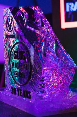 The SLUG Mag ice luge waits patiently to deliverjager bombs to the anniversary patrons.