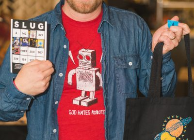Our first bingo winner of the night was Derek Mellus who brought home a swag bag filled with SLUG goodies.