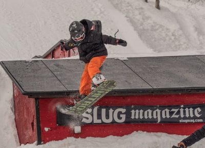 Ashton Davis during men's 17 and under snowboarding.