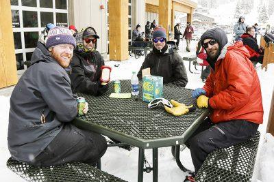 Friends Ramblin Rob, Millon Chad Johnson, Bobby Crayk, and Dustin Pellegrino enjoying conversation.