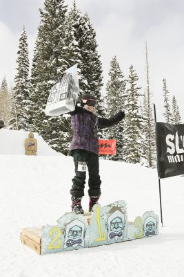 1st place winner of women's open ski Isabel Parada is happy to win!
