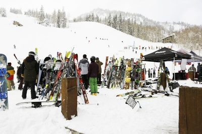 Tons of snowboards lined up during the SLUG Games.