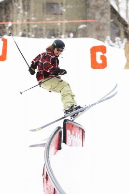 Tucker Fitzsimmons practically flies on his skis.