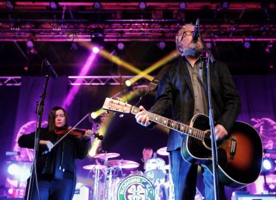 The powerhouse couple of Flogging Molly, Regan Bridget and Dave King playing in Salt Lake City. Photo: @Lmsorenson