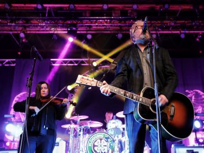 The powerhouse couple of Flogging Molly, Regan Bridget and Dave King playing in Salt Lake City. Photo: @Lmsorenson