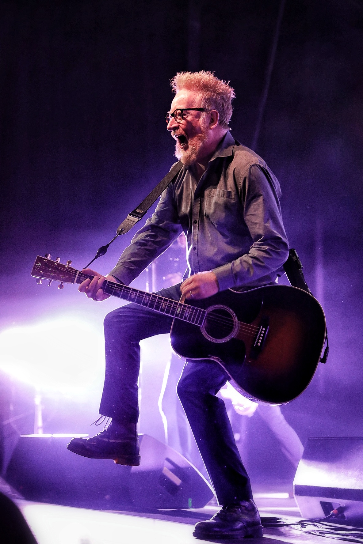 As lively as the band is on stage, the crowd is twice and intense. Flogging Molly's Dave King stomping up a storm at The Complex in SLC. Photo: @Lmsorenson