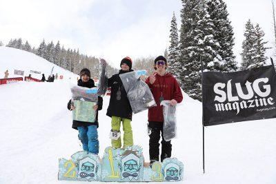 Men's 17 and under ski winners, Jaxon Lewis, Alex Mallen and Luke Mallen.