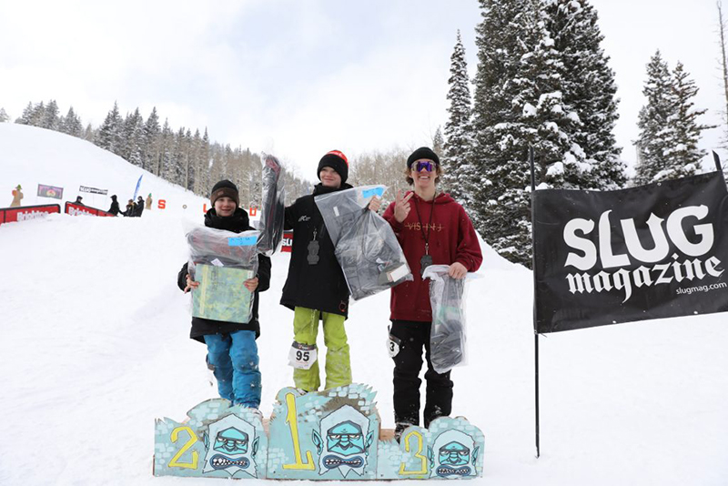Men's 17 and under ski winners, Jaxon Lewis, Alex Mallen and Luke Mallen.