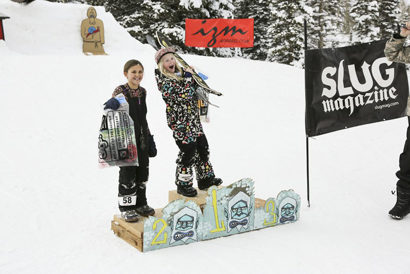 1st place Scarlett Park and 2nd place Jaida Davis are excited about winning the women's 17 and under snowboard.