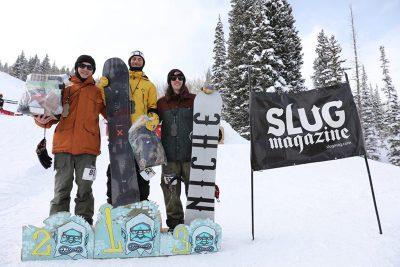 Men's open snow winners, Evan Thomas, Paxon Alexander and Bryan Watson.