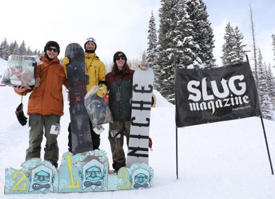 Men's open snow winners, Evan Thomas, Paxon Alexander and Bryan Watson.