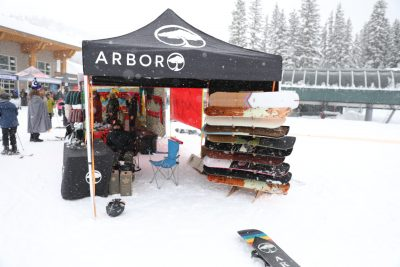 Arbor displays some of the snowboards it has available for sale.