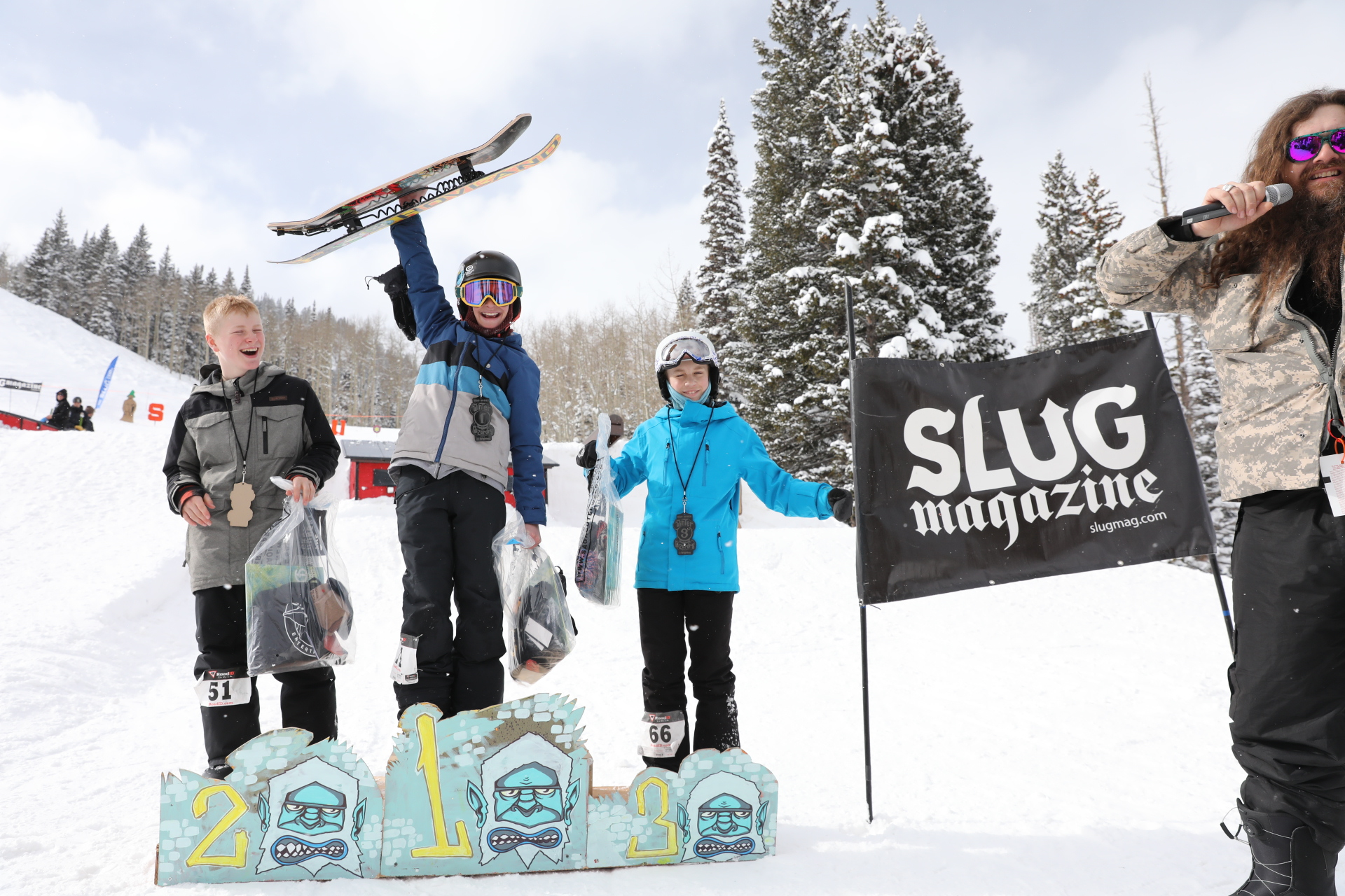 Men's 17 and under snow winners Noah SInger, Greyson Hawkins, Isaac Harkness