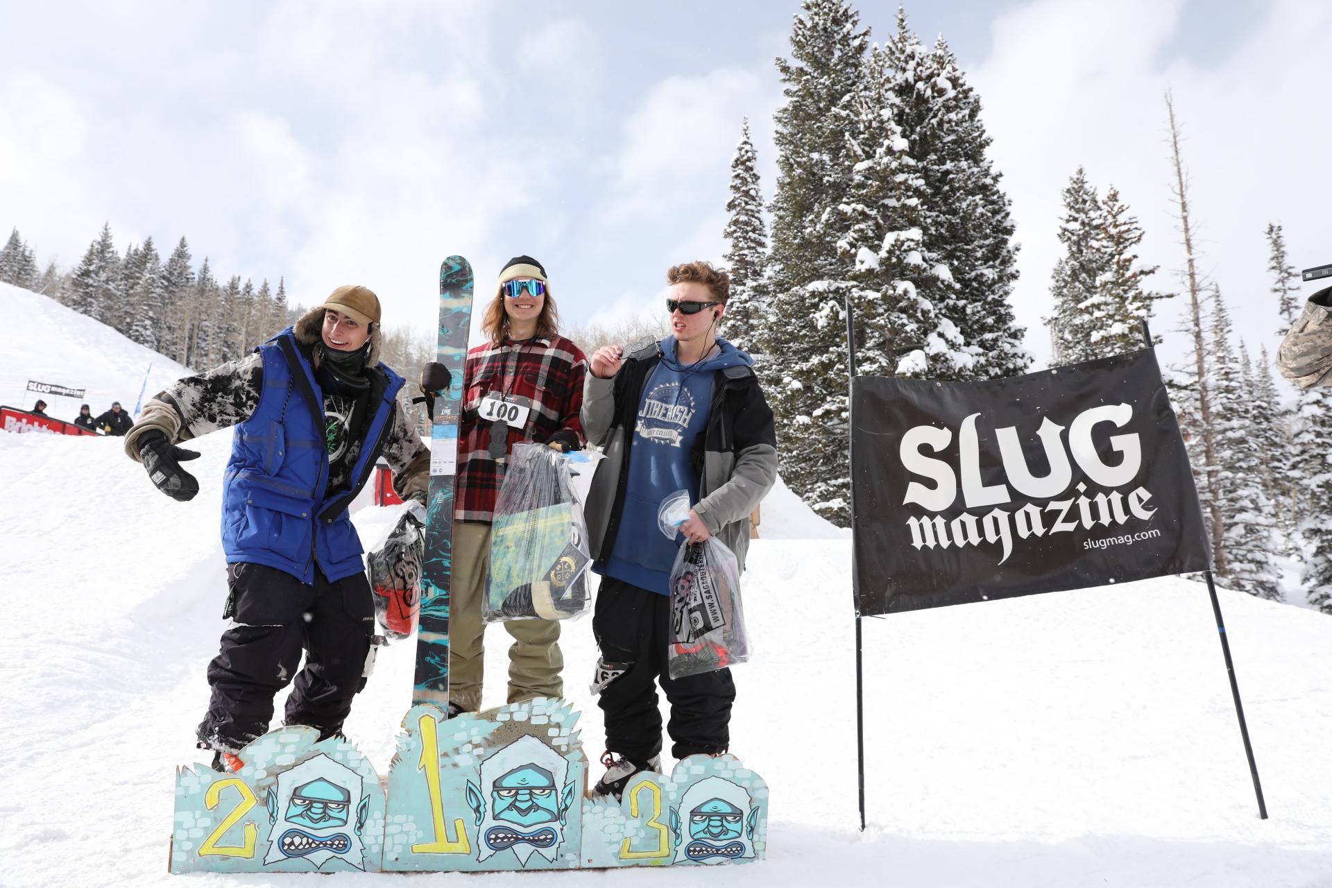 Men's open ski winners Hayden Gellesen, Bagesd Baker, Tucker Fitsimmons