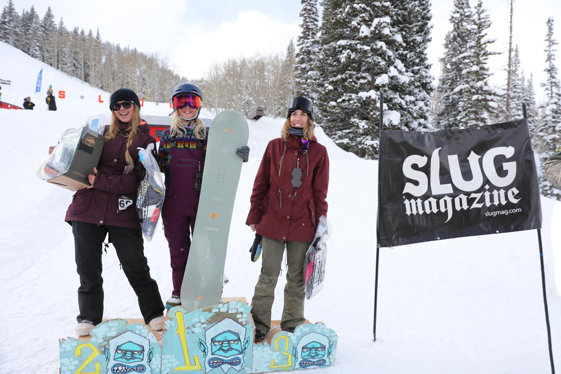 Women's open snow winners Jess Kelley, Lexie Bryner, Gwynnie Park