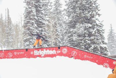 Ashton Davis with a boardslide on a flat down rail.