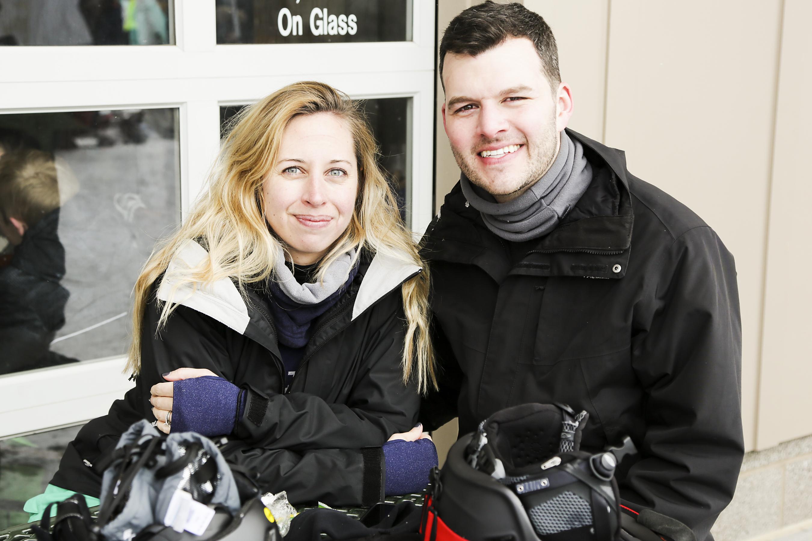 Erin and Jeff Neblett taking a break.