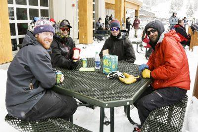 Friends Ramblin Rob, Millon Chad Johnson, Bobby Crayk, and Dustin Pellegrino enjoying converstation.