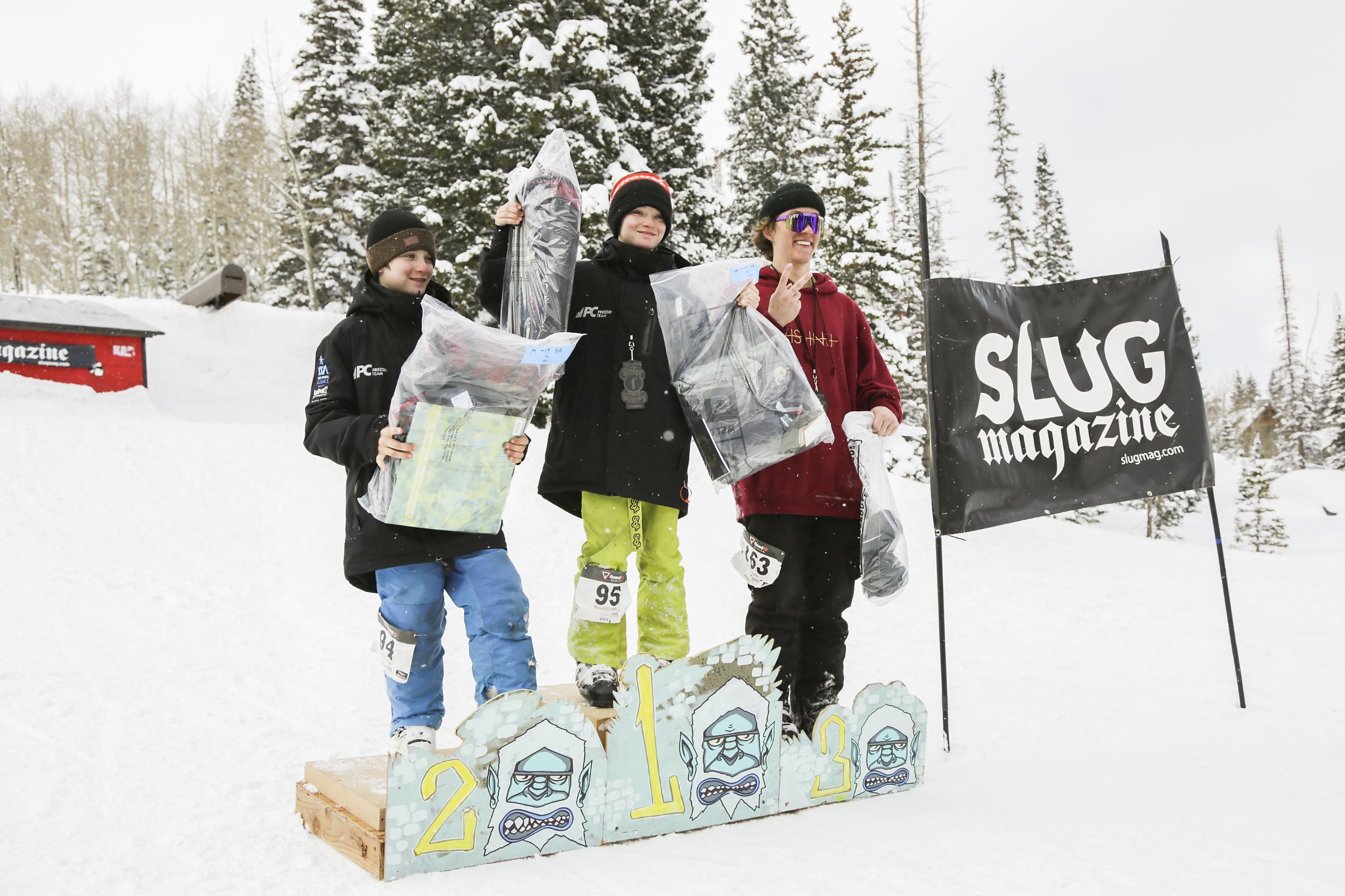 1st place winner of mens 17 & under ski Luke Mullan joins 2nd place winner Alex Mullen and 3rd place winner Jaxon Lewis on the podium.