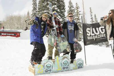 Mens open ski winners show their excitement. 1st place Tucker Fitzsimons, 2nd place Bagesd Baker, and 3rd place Hayden Gellesen.