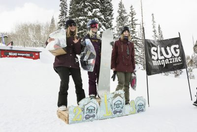 Women's open snow winners excited to win! 1st place Gwynnie Park, 2nd place Lexie Bryner, and 3rd place Jess Kelley.