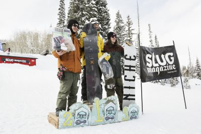 Winners of the Men's open snow smile for the cameras. 1st place Bryan Watson, 2nd place Paxon Alexander, and 3rd place Evan Thomas.