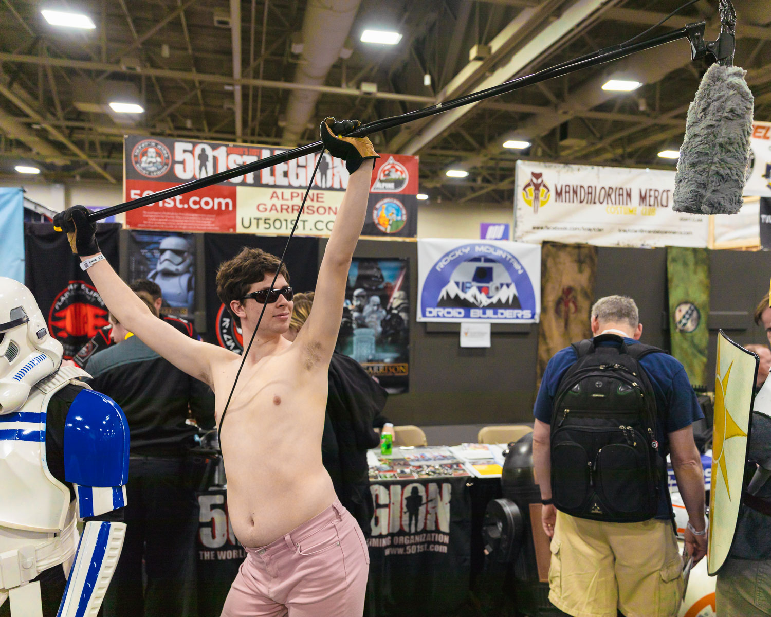 "Broden cosplaying as Urban Myth and Cult Legend ""Pink Booty Shorts Sound Guy"" of Star Wars bts. (Must Google). Photo: @Lmsorenson"