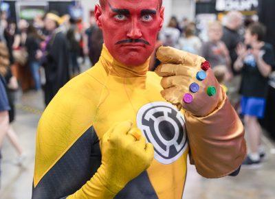 Matt Monson (@Maddmatter) cosplaying as the Green Lantern villain Sinestro at FanX19. Photo: @Lmsorenson