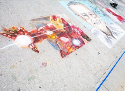 Finished work from the Stan Lee Sidewalk Chalk Tribute features iconic Ironman and Spider-Man, as well as Stan Lee, himself. Photo: @Lmsorenson